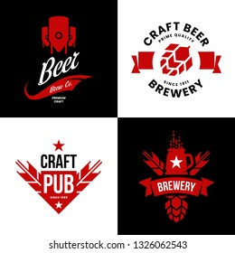 Modern craft beer drink isolated vector logo sign for bar, pub, store, brewhouse or brewery. Premium quality manufacturing and hop logotype illustration set. Brewing fest t-shirt badge design bundle.
