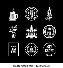 Modern craft beer drink isolated vector logo sign for bar, pub, store, brewhouse or brewery. Premium quality mug, hop, bottle logotype emblem illustration set. Brewing fest t-shirt badge design bundle