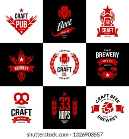 Modern craft beer drink isolated vector logo sign for bar, pub, store, brewhouse or brewery. Premium quality crab, pretzel logotype emblem illustration set. Brewing fest t-shirt badge design bundle.