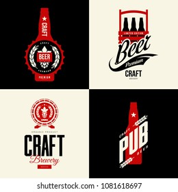 Modern craft beer drink vector isolated logo sign for bar, pub, brewery or brewhouse. Premium quality organic logotype tee print badge illustration. Brewing fest fashion t-shirt emblem design set.