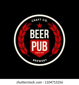 Modern craft beer drink vector logo sign for bar, pub, brewhouse or brewery isolated on dark. Premium quality logotype tee print badge illustration. Brewing fest fashion t-shirt emblem design.