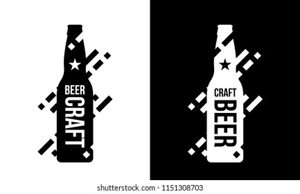 Modern craft beer drink vector isolated logo sign for bar, pub, brewery or brewhouse. Premium quality bottle logotype tee print badge illustration. Brewing fest fashion t-shirt emblem design set.