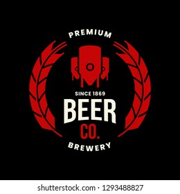 Modern craft beer drink vector logo sign for bar, pub, store, shop, brewhouse, brewery isolated on black background. Premium quality logotype emblem illustration. Brewing fashion t-shirt badge design.
