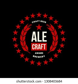 Modern craft beer drink vector logo sign for bar, pub, store, brewhouse or brewery isolated on black background. Premium quality emblem logotype illustration. Brewing round fest t-shirt badge design.