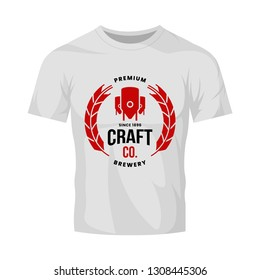Modern craft beer drink vector logo sign for bar, pub, store, brewhouse or brewery isolated on white t-shirt mock up. Premium quality logotype emblem illustration. Brewing fest fashion badge design.
