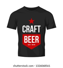 Modern craft beer drink vector logo sign for bar, pub, store, brewhouse or brewery isolated on black t-shirt mock up. Premium quality star logotype illustration. Brewing fest fashion badge design.