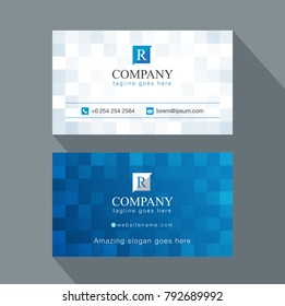 modern creative business card and name card, horizontal simple clean template vector design, layout in rectangle size. Blue abstract business card.