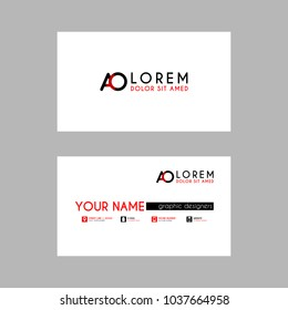 Modern Creative Business Card Template with AO ribbon Letter Logo