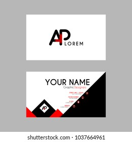 Modern Creative Business Card Template with AP ribbon Letter Logo