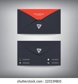 Modern creative business card template in envelope shape, flat design. Eps10 vector illustration.