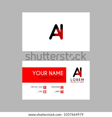Modern creative business card template ai stock vector royalty free modern creative business card template with ai ribbon letter logo friedricerecipe Choice Image