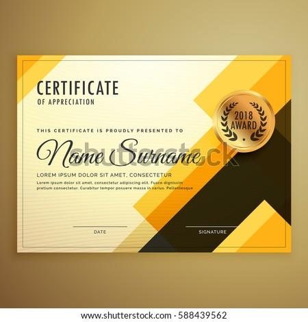 modern creative certificate design template geometric のベクター