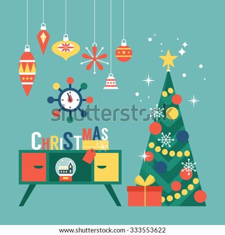 Modern creative christmas greeting card design stock vector royalty modern creative christmas greeting card design with christmas tree and mid century furniture vector illustration m4hsunfo