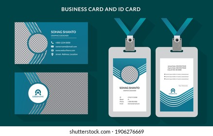 modern creative clean Business card and employee  id card layout design illustration for business company branding template