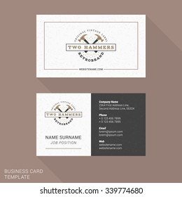 Modern Creative and Clean Business Card Template with Vintage Logotype. Flat Style Vector Illustration