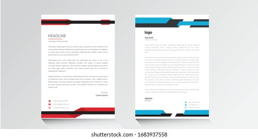 Modern Creative & Clean Corporate Business style letterhead design templates for company project.Ready for  professional,vector,illustration,elegant,abstract,identity,blue,red,black,white colorful.