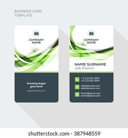 Modern Creative and Clean Two Sided Business Card Template. Flat Style Vector Illustration. Vertical Visiting or Business Card Template. Stationery Design