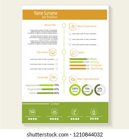 Modern creative cv resume with infographic template vector
