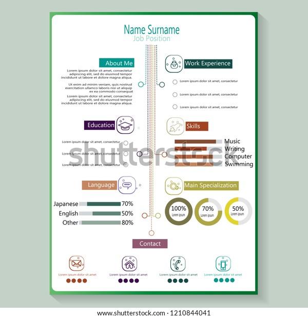 Modern Creative Cv Resume Infographic Template Stock Vector