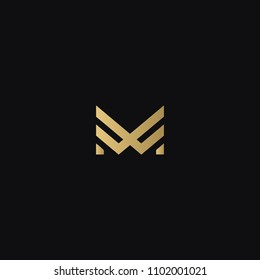 Modern creative geometric shaped MW WM M W artistic minimal black and golden color initial based letter icon logo