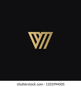 Modern creative geometric shaped VM MV V M artistic minimal black and golden color initial based letter icon logo