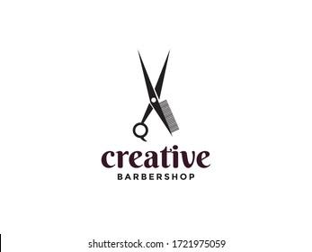 modern creative scissors and comb logo for barbershop