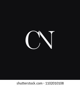 Modern creative unique elegant CN NC C N artistic minimal black and white color initial based letter icon logo