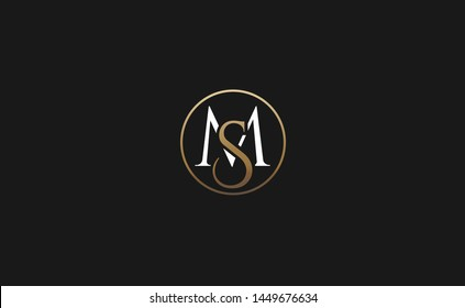 Modern creative unique elegant minimal artistic gold and white color MS SM M S initial based letter icon logo