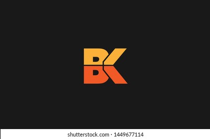 Modern creative unique elegant minimal artistic orange color BK initial based letter icon logo