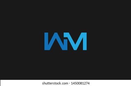 Modern creative unique elegant minimal artistic blue color WM MW W M initial based letter icon logo