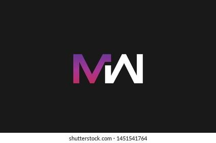 Modern creative unique elegant minimal artistic purple color MW WM M W initial based letter icon logo