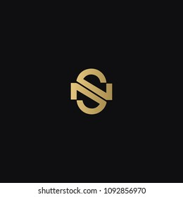 Modern creative unusual elegant NS SN N S artistic black and golden color initial based letter icon logo.