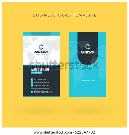 Modern creative vertical doublesided business card stock vector modern creative vertical double sided business card template flat design vector illustration stationery accmission Choice Image
