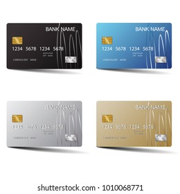 Modern credit card set template design. With inspiration from the abstract. Vector illustration.Glossy plastic style.