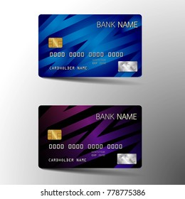 Modern credit card set template design. With inspiration from the abstract. Blue and purple color on the gray background. Vector illustration.Glossy plastic style.