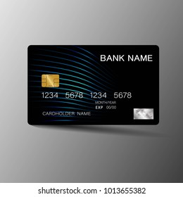 Modern credit card template design. With inspiration from the line abstract. Blue and black color on gray background illustration. Glossy plastic style.