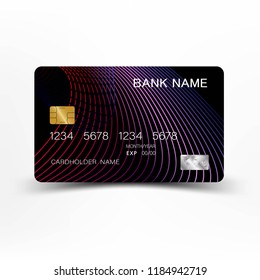 Modern credit card template design. With inspiration from the line abstract. Purple and black color on gray background illustration. Glossy plastic style.