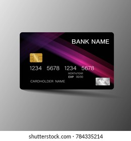 Modern credit card template design. With inspiration from the abstract. Purple and black color on the gray background. Vector illustration. Glossy plastic style.