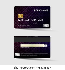 Modern credit card template design. With inspiration from the abstract. Two sided purple and black color on the gray background. Vector illustration. Glossy plastic style.