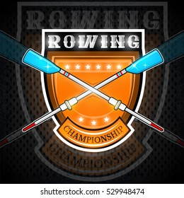 Modern cross oars for rowing in center of shield. Sport logo for any team or championship