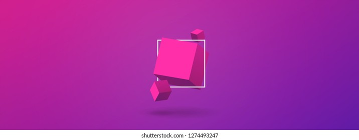 Modern Cubes Vector . Color Gradient Bacground. EPS. Vector. Cube 3D