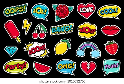 Modern cute colorful patch set on black background. Fashion patches of cherry, strawberry, watermelon, lips, rose flower, rainbow, hearts, comic bubbles etc. Cartoon 80s-90s style. Vector illustration