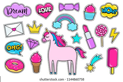 Modern cute girly colorful patch set. Fashion patches of unicorn, lipstick, crown, diamond, love letter, rainbow, hearts, donut, cupcake, comic bubbles etc. Cartoon 80s-90s style. Vector illustration
