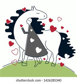 Modern cute illustration with gir/ rider, hugging white horse. Minimalistic line art creative design with decorative red hearts. Natural horsemanship, free horses
