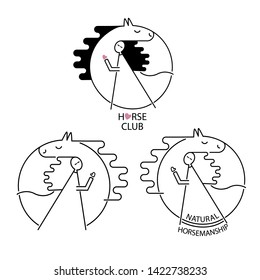 Modern cute logo for horse club with gir/ rider, hugging a horse. Minimalistic line art creative design for riding school, club or private stable. Natural horsemanship, free horses