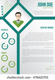 Modern cv resume cover letter template design with photo in rhomb
