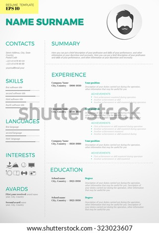 modern cv resume template stock vector royalty free 323023607