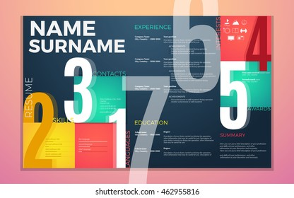 modern cv resume template. Bright contrast colors infographic with curriculum vitae infographic, boxes and text