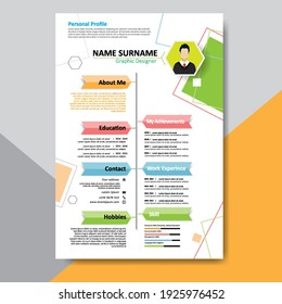 Modern CV, Resume template layout design for you profile. Elegant stylish colorful background. Vector Illustration.