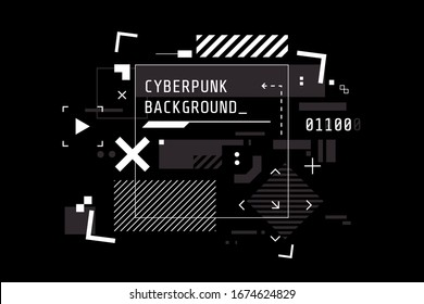 Modern cyberpunk background in black and white color. Abstract high tech banner with place for text. Digital screen in HUD style. Futuristic glitch illustration. Use for t-shirt design,club poster.